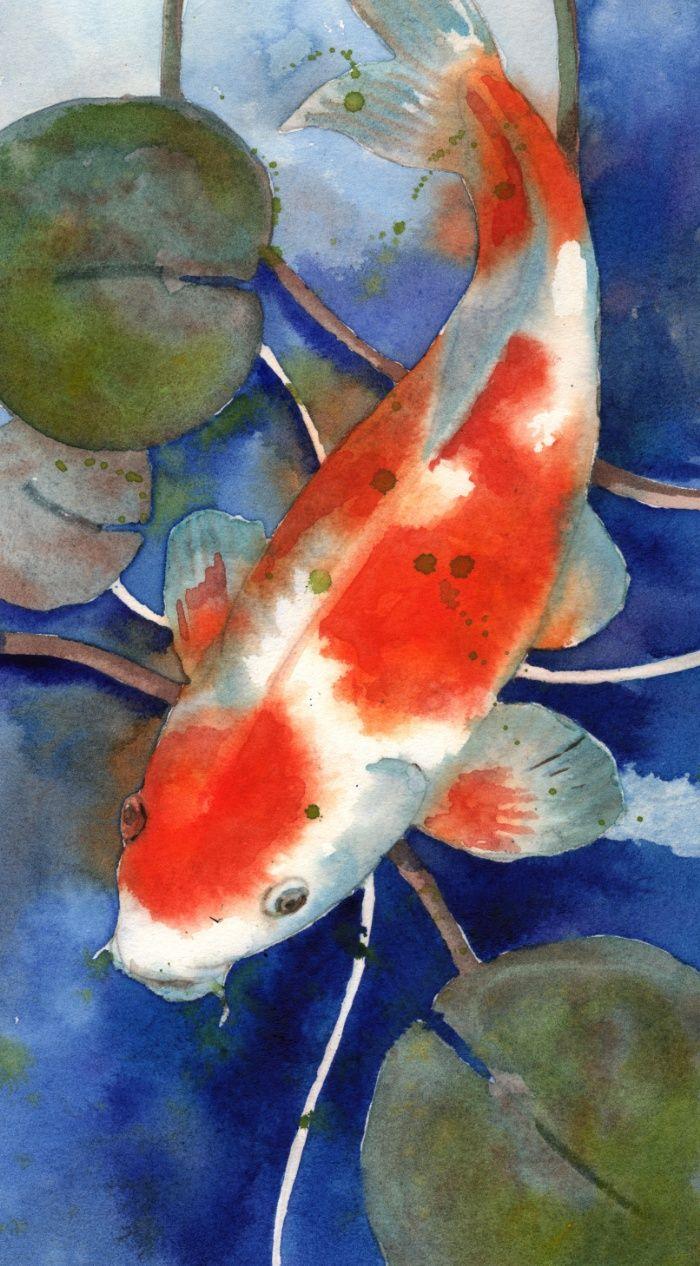Watercolor paintings of fish best painting 2018 for Koi pool santa